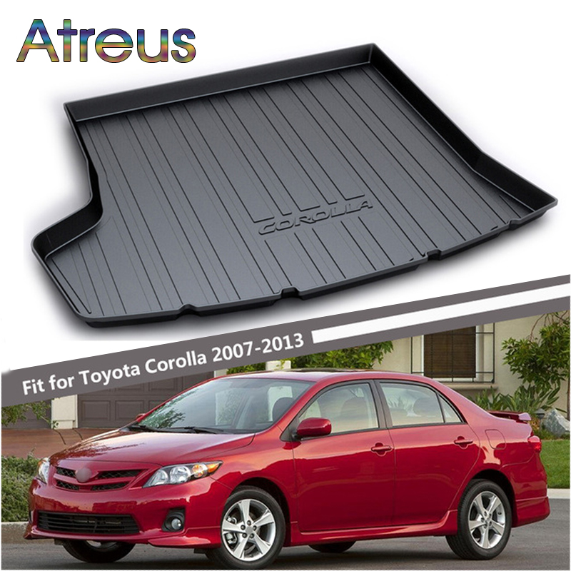 Atreus Car Rear Trunk Floor Mat Durable Carpet For Toyota Corolla E140 E150 2007-2013 Boot Liner Tray Waterproof Anti-slip mat atreus car rear trunk floor mat durable carpet for toyota corolla e140 e150 2007 2013 boot liner tray waterproof anti slip mat