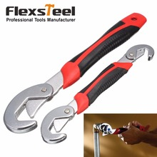 Flexsteel Multi-Function 2pcs Universal Wrench Set Adjustable Grip 9-32mm Ratchet Spanner Tool for Nuts and Bolts