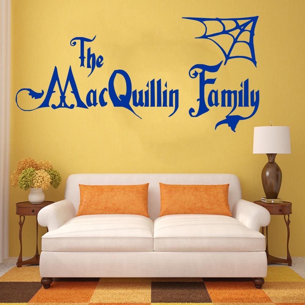 YOYOYU Personalised Halloween Family Name Addams Family Vinyl Wall ...