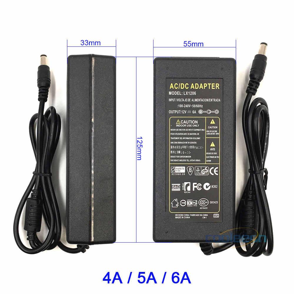 100-265 в AC DC 12 В адаптер питания зарядное устройство 1A 2A 3A 4A 5A 6A светодиодный трансформатор UK AU US EU вилка 5,5 мм x 2,5 мм DC Ouput