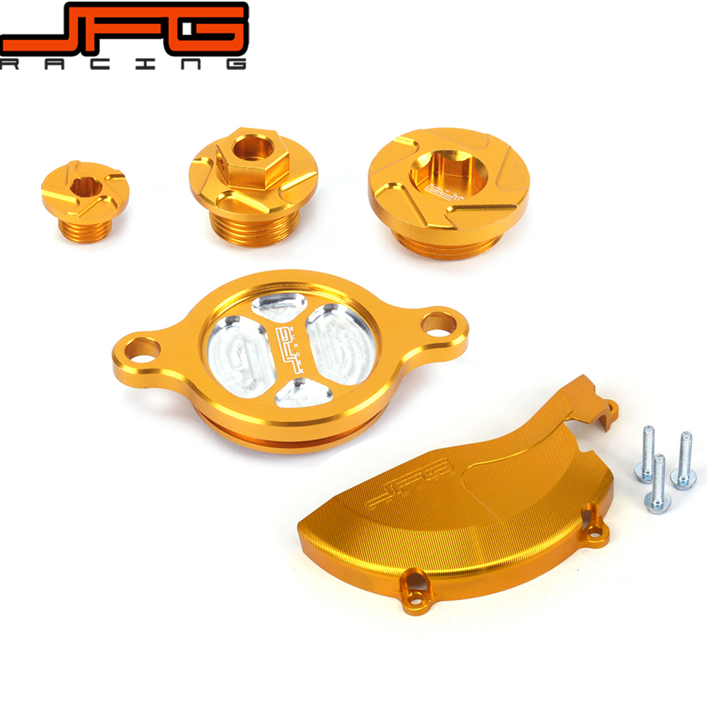Gold CNC Engine Cover Guard Cap Timing Oil Filter Screw Bolt For RMZ450 08 0910 11 12 13 14 15 16 Dirt Pit Bike motorcycle cnc 6 hole beveled engine side guard derby cover