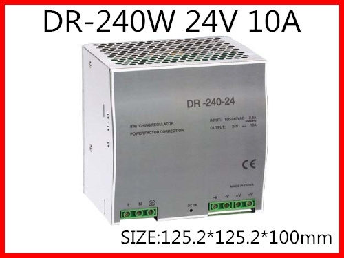 DR-240-24 Din Rail Switching power supply 240W 24VDC 10A Output dr 240 24 high quality single output led dc 240w 24vdc 10a din rail power supply transformer switching power supply