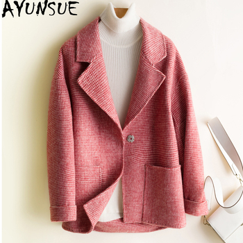 AYUNSUE Plaid Wool Coat Women 2019 Short Autumn Winter Jacket Fashion 100% Double-sided Wool Coats Abrigos Mujer Elegante knx867