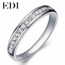 EDI 0.21 cttw Сертификат Алмаз Обручальное кольцо Для Женщин 9 К Твердого Белого Золота Свадьба Enternal Обручальное Кольцо Ювелирные Изделия С Бриллиантами(China (Mainland))