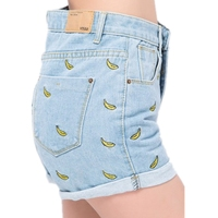 New Summer Banana Flower Embroidery Cotton Curling Plus Size Casual High Waist Denim Shorts Women