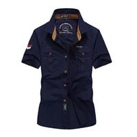 Mens Shirts Casual Cotton Short Sleeve Shirts Men Brand Clothing Summer Fashion Military Male Shirts Social Slim Fit M XXXL