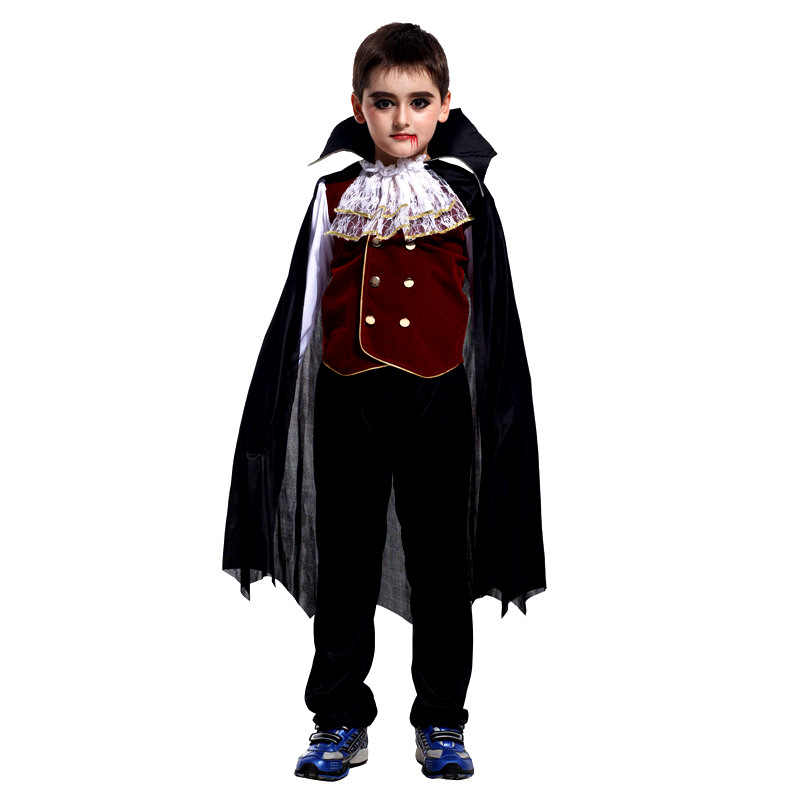 2018 Yeni Karnaval Parti Cadılar Bayramı Çocuk Çocuk Sayısı Dracula Gotik Vampir Kostüm Fantasia Prens Vampir Cosplay Çocuk için