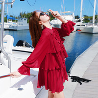 LANMREM Korean 2019 Lantern Sleeve Cascading Ruffle Women Chiffon Dress Spring Summer Fashion Above Knee Loose Clothes TB070
