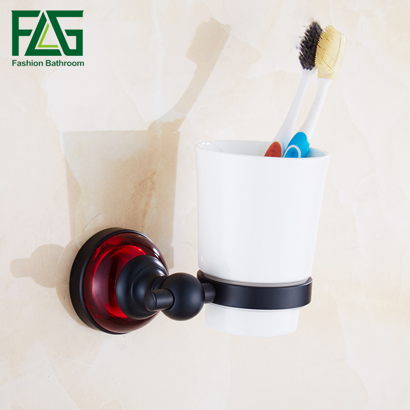 FLG Tumbler Holders Space Aluminum Single Cup Holder Ceramic Cups Toothbrush Tooth Cup Holder Bathroom Accessories flg luxury chrome wall mounted toothbrush tumbler bathroom accessories single cup tumbler holders toothbrush cup holders