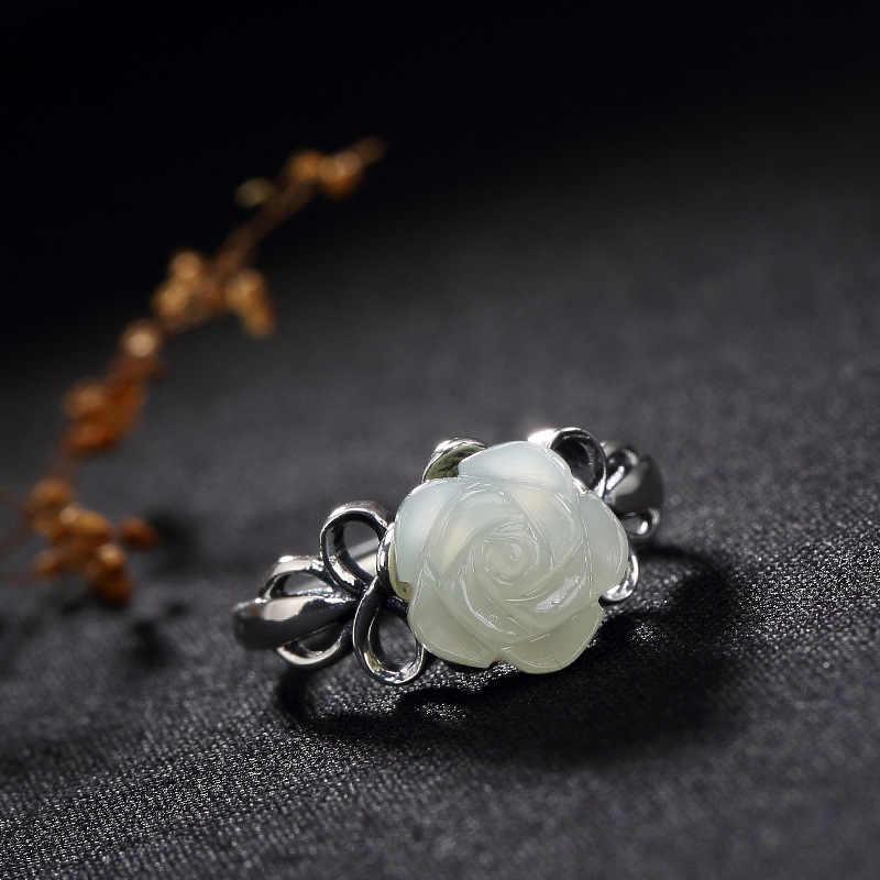 L & P S925ฝังเงินบริสุทธิ์การฟื้นฟูวิธีโบราณhetianหยกขาวหยกเลดี้โรสแหวนเงินแหวนขายส่ง
