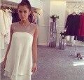 S-XL груза падения лето dress 2015 новый плюс размер повседневная кружева dress шифон лоскутная рукавов белый dress alibaba express