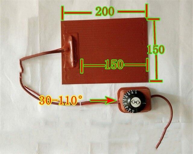 US $63 69 9% OFF|200*150mm220V Knob temperature control FPB split screen  treasure,heating plate silicone heater pad element flexible element heat-in
