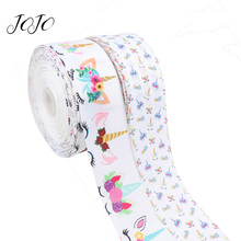 JOJO BOWS 75mm 5y Grosgrain Ribbon Unicorn Flower Printed Tape For Home Decoration Apparel Sewing Material DIY Hair Bow Supplies цена