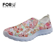 FORUDESIGNS Beautiful Women Girls Butterfly Mesh Shoes Comfortable Ladies Loafers Lightweight Flats Lazy