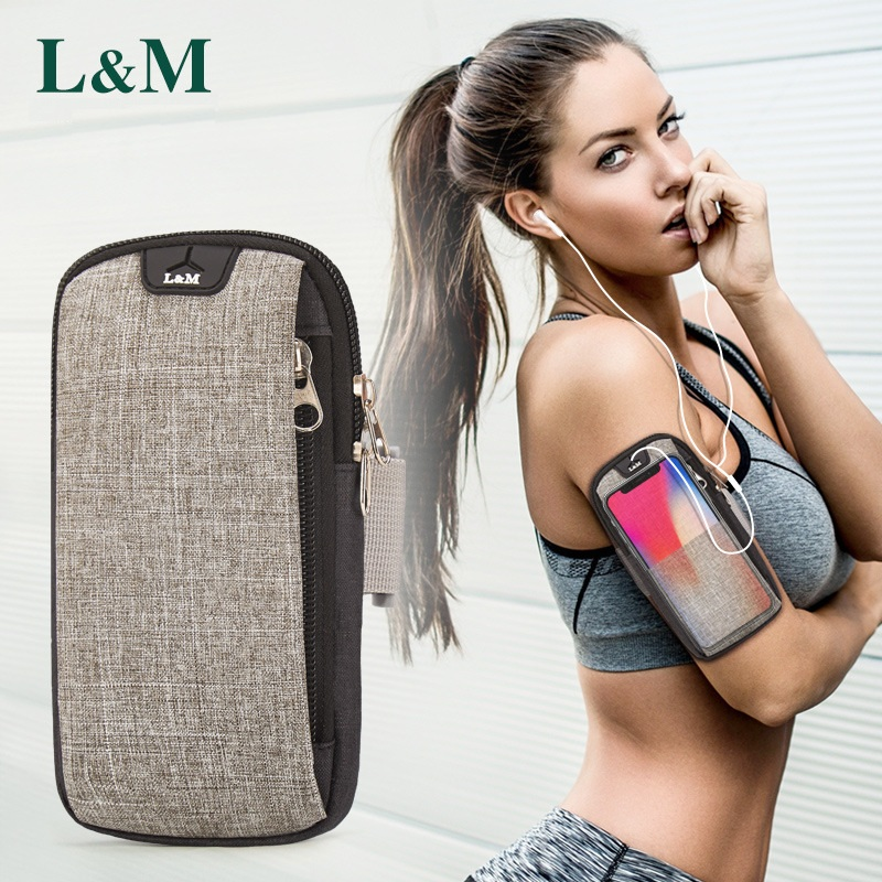 цена на 6inches Running Bag with Earphone Hole Jogging Gym Running Armband Bag Mobile Phone Pouch Holder Outdoor Sport Fitness Wrist Bag