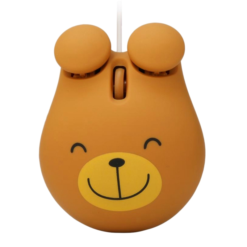 1000 Dpi Wired Optical Gaming Mouse Cute Bear Animal Mouse Usb For Pc Laptop Game Console Brown Plastic