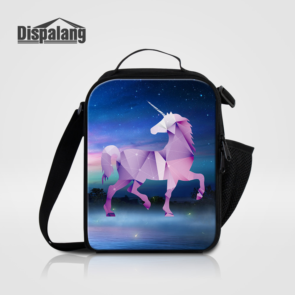 Dispalang Waterproof Portabale Picnic Food Storage Lunch Box Unicorn Patterns Lunch Bags For Women Kids Small Thermal Cooler Bag