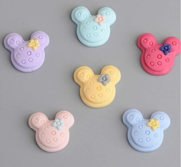 New Style 1.5cm*1.5cm Mix Color Cartoon Mouse Head Flat Back Resin DIY Accessories Fit D ...