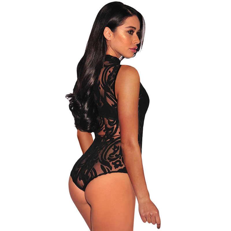 SEBOWEL/Черное Кружевное боди с высокой горловиной и цветочным принтом, женское летнее прозрачное Боди без рукавов размера плюс, женская верхняя одежда