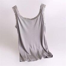Femme été dentelle solide 100% soie débardeur hauts femme surdimensionné avec poitrine pli respirant 100% soie t shirts dame stretch soie t shirts