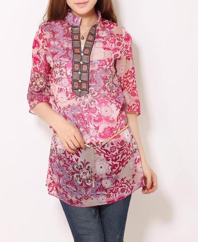 Senhoras Elegantes blusas estampas florais do vintage V pescoço Stand camisas casual magro tops camisa blusa feminina Sexy blusas soltas M 5XL
