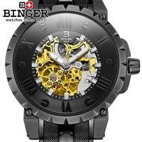 Switzerland Transparent Case Fashion Engraving Men Watches Top Brand Luxury Waterproof 100M Mechanical Skeleton Watch Clock Men