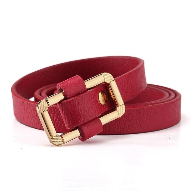 [Himunu] 2016 New Fashion Women Genuine Cowhide Leather Belt Wild Rectangular Belt Buckle 8 Colors White Black Red Brown