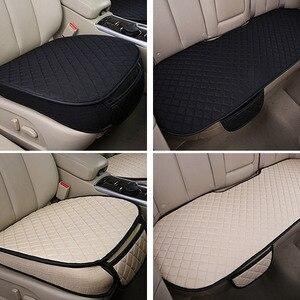 Image 3 - カーシートカバーセットユニバーサル自動車シートカバーの通気性亜麻自動席クッションパッドプロテクターカースタイリングアクセサリー