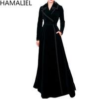 HAMALIEL Runway Autumn Women Trench Coat 2018 Designer Black Velvet XL Long Turn Down Collar Elegant Slim Long Sleeve Outwerwear