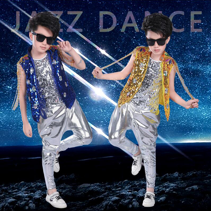 Boys Girls Sequined Hip Hop Costumes Jazz Ballroom Tap Dancing Tops + Pants Children Dance Stage Wear Kids Party Dancewear