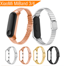 Metal wrist Strap for Xiaomi Mi Band 3 Strap Smart Watch Screwless Stainless Steel for MiBand 3 Bracelet Wristbands Mi Band 4 3 fohuas metal strap for xiaomi miband 2 wristbands wrist band for mi band 2 smart bracelet accessory black silver gold rose pink