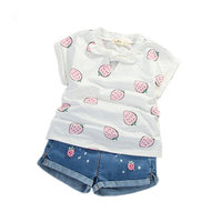 2018 Summer Children Clothing Sets Toddler Girls 2 Pcs Casual Banana Strawberry T Shirt Jeans Shorts