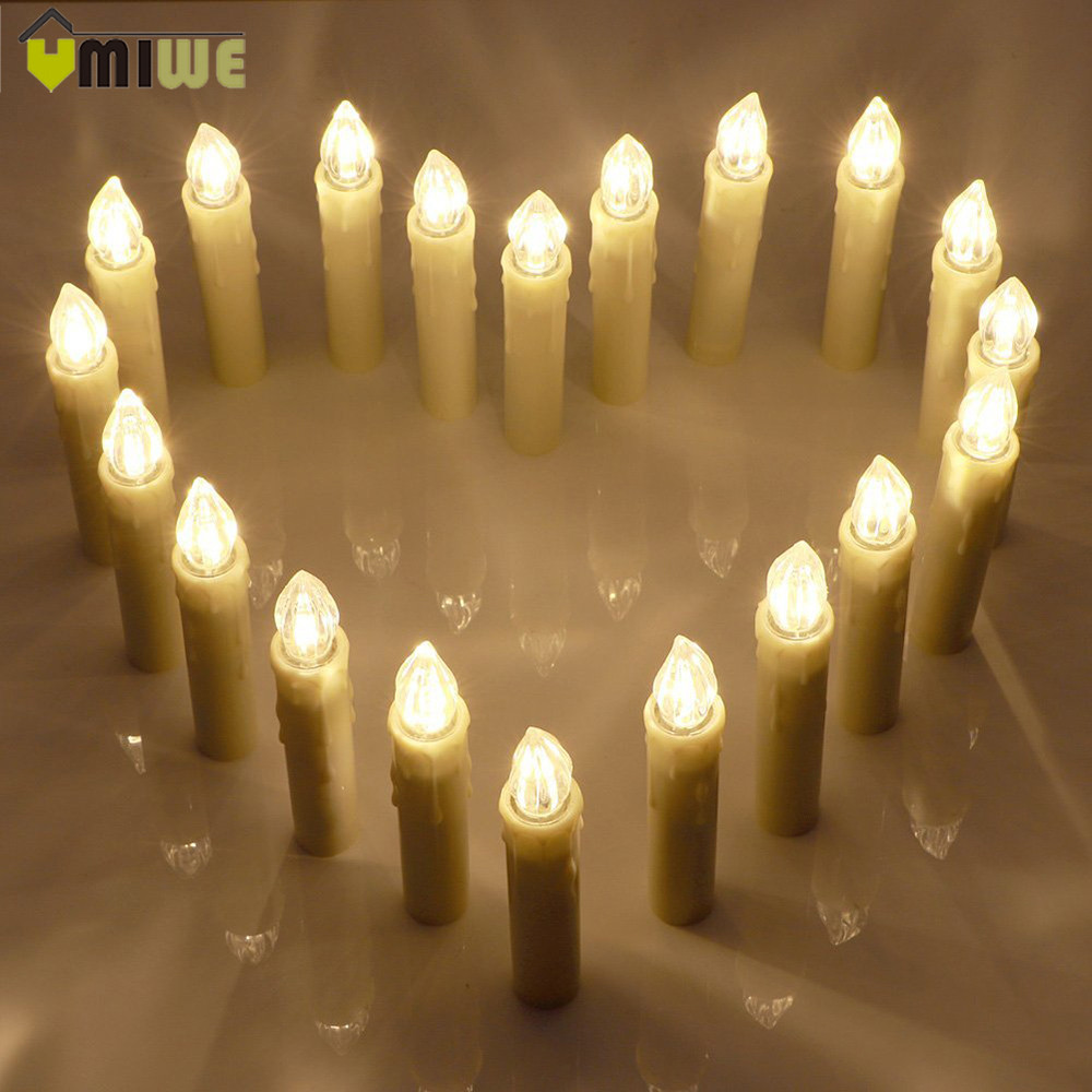Waterproof Remote Control Electronic Candlelight Flameless Flickering LED Candles Christmas Wedding Party Decor Candle Lights
