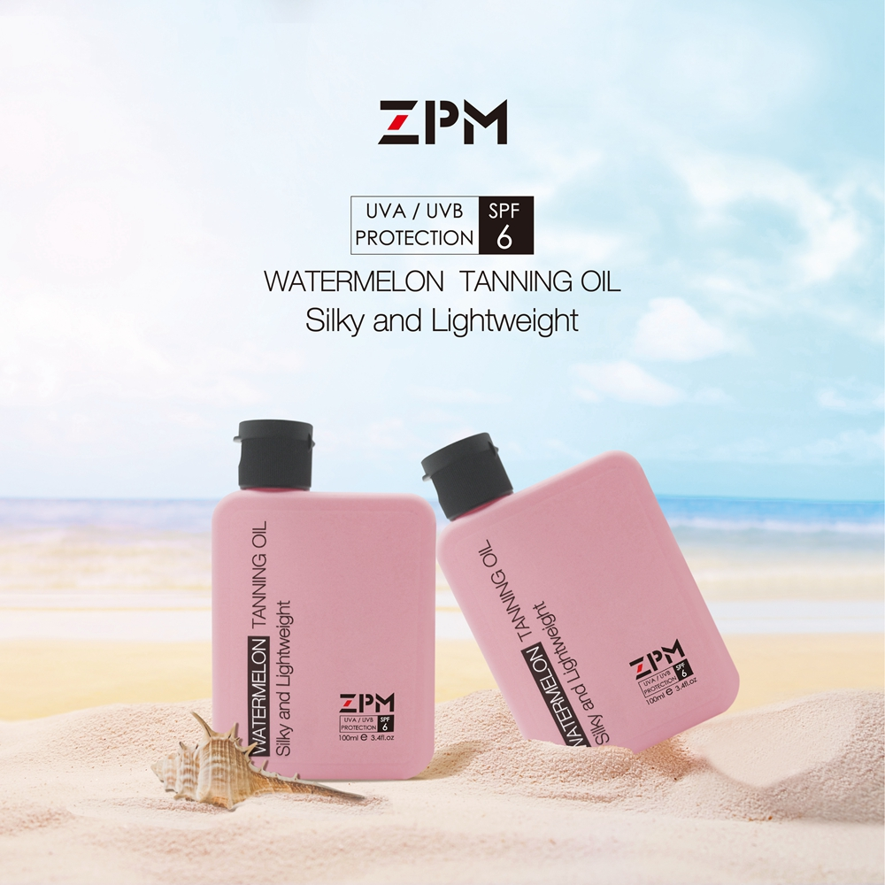 ZPM Watermelon Moisturizing Tanning Oil, SPF 6, Broad Spectrum UVA/UVB Protection, Coconut Oil,Vintam E, Hypoallergenic, 3.4oz.(China)