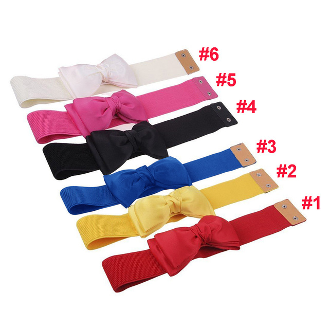 Womens Chiffon Bowknot Elastic Bow Wide Stretch Bukle Waistband Waist Belt for Gift JL