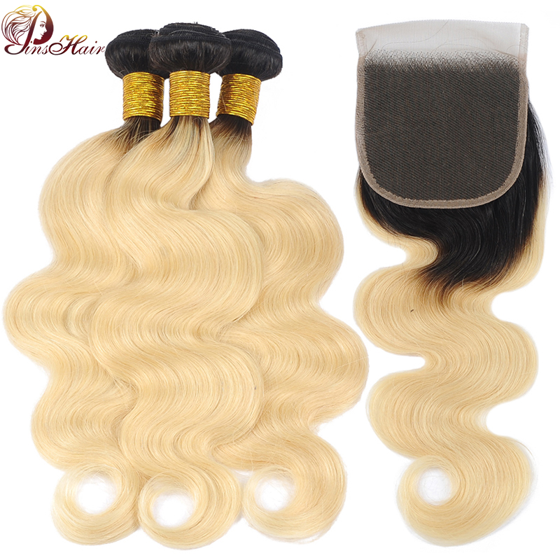 Pinshair 1B 613 Peruvian Human Hair Bundles With Closure Ombre Blonde Body Wave 13*4 Lace Frontal Closure With Bundles Non-Remy