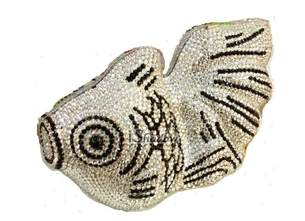 ФОТО Crystal FISH Lady fashion Wedding Bridal Party Night Metal Evening purse Clutch bag handbag case