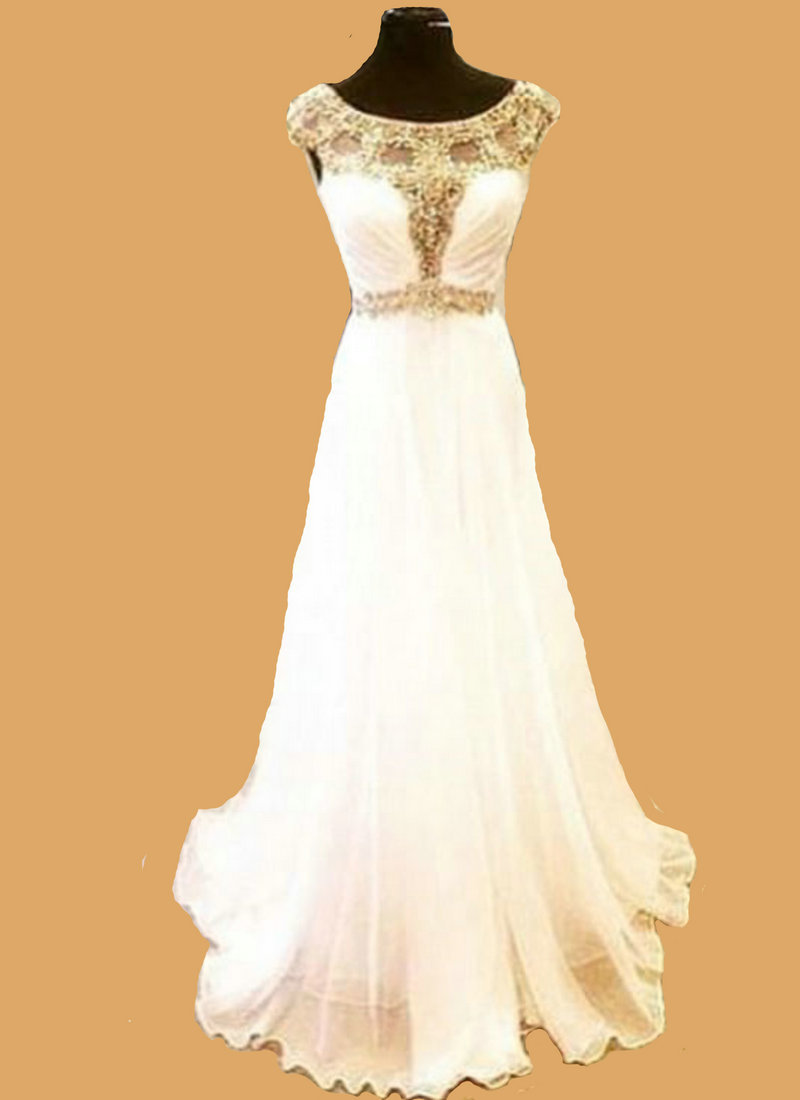Chiffon long gold beaded evening dresses white cap sleeves for Elegant wedding party dresses