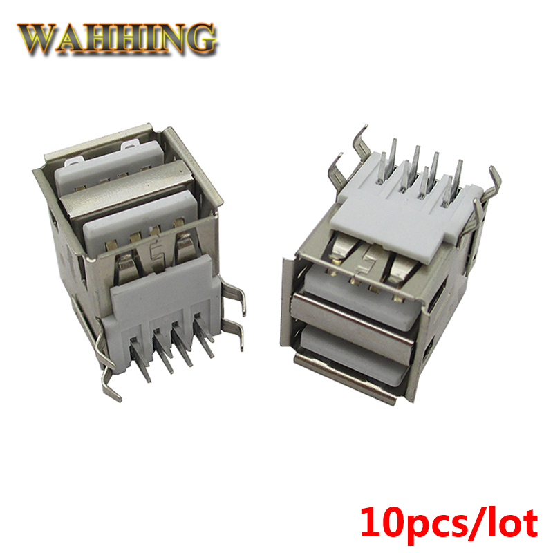 10pcs/lot Double Dual USB 2.0 8 Pin Type A Female Connector Cable Adapter Socket for DIY HY505 цена и фото