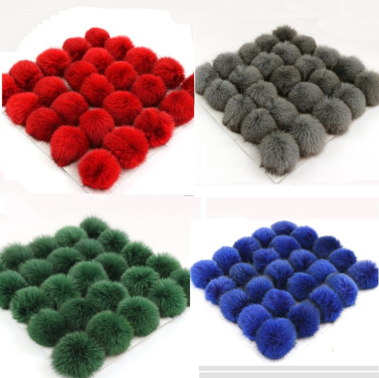 Wholesale 5pcs/lot Fluffy Real Fox Pompoms For Bags Keyring Clothing Nature Poms For Knitted Hats   Skullies     Beanie   Winter Caps