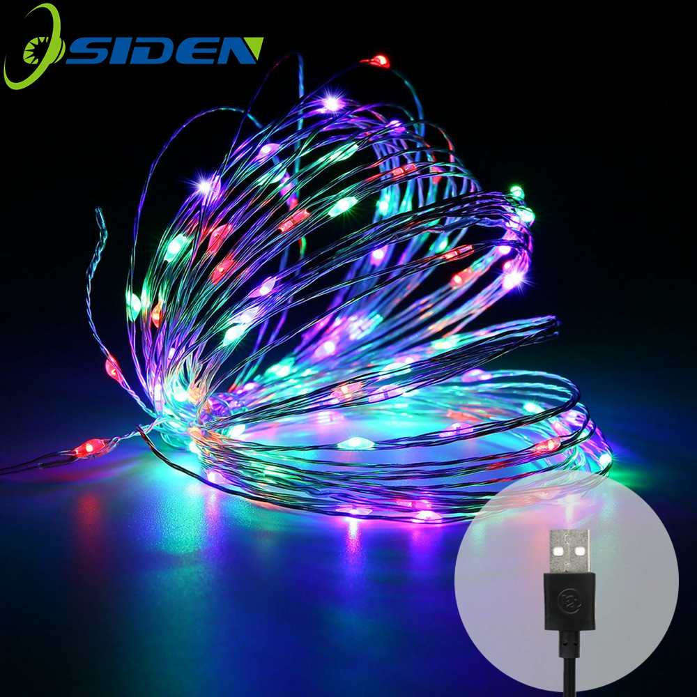 LED String Light USB 10 M 5M Kobber / Sliver Wire Vanntett Outdoor Strings Fairy Lights For Christmas Wedding Decoration