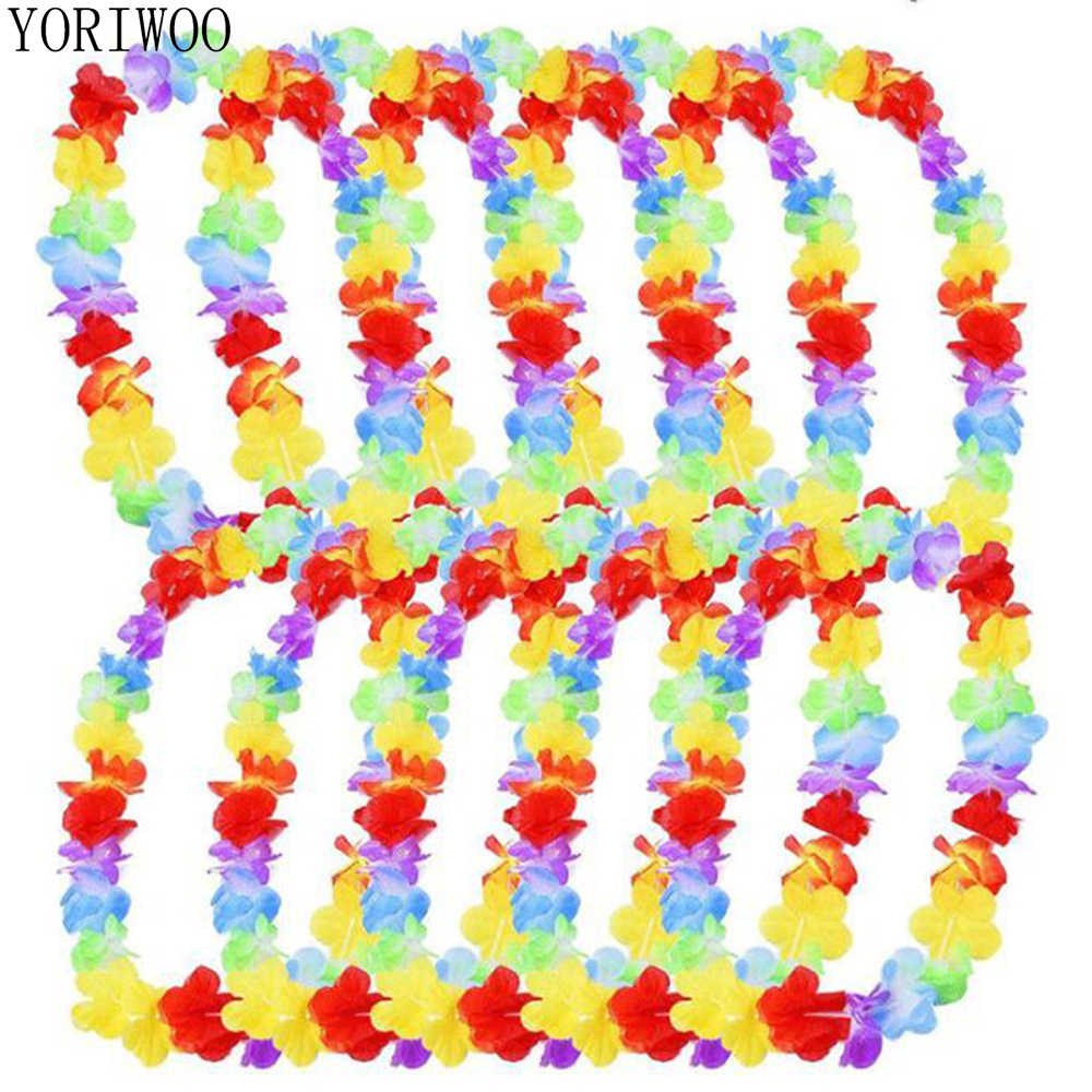 YORIWOO 10 piezas Hawaii parte artificial flores collar Leis corona guirnalda de verano playa Tropical DIY fiesta hawaiana decoraciones