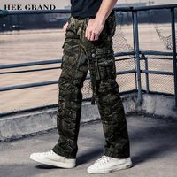 HEE GRAND Men Cargo Pants 2017 New Multi-Pockets Whole Cotton Material Comfortable Casual Male Spring Military Pants MKX1239