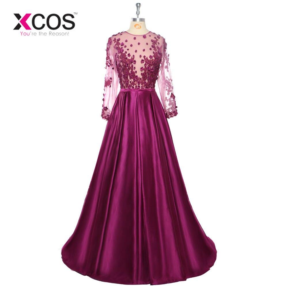 Sexy manches longues robes de soirée 2018 transparent voir à travers perles appliques Satin robes formelles fête tenue de soirée