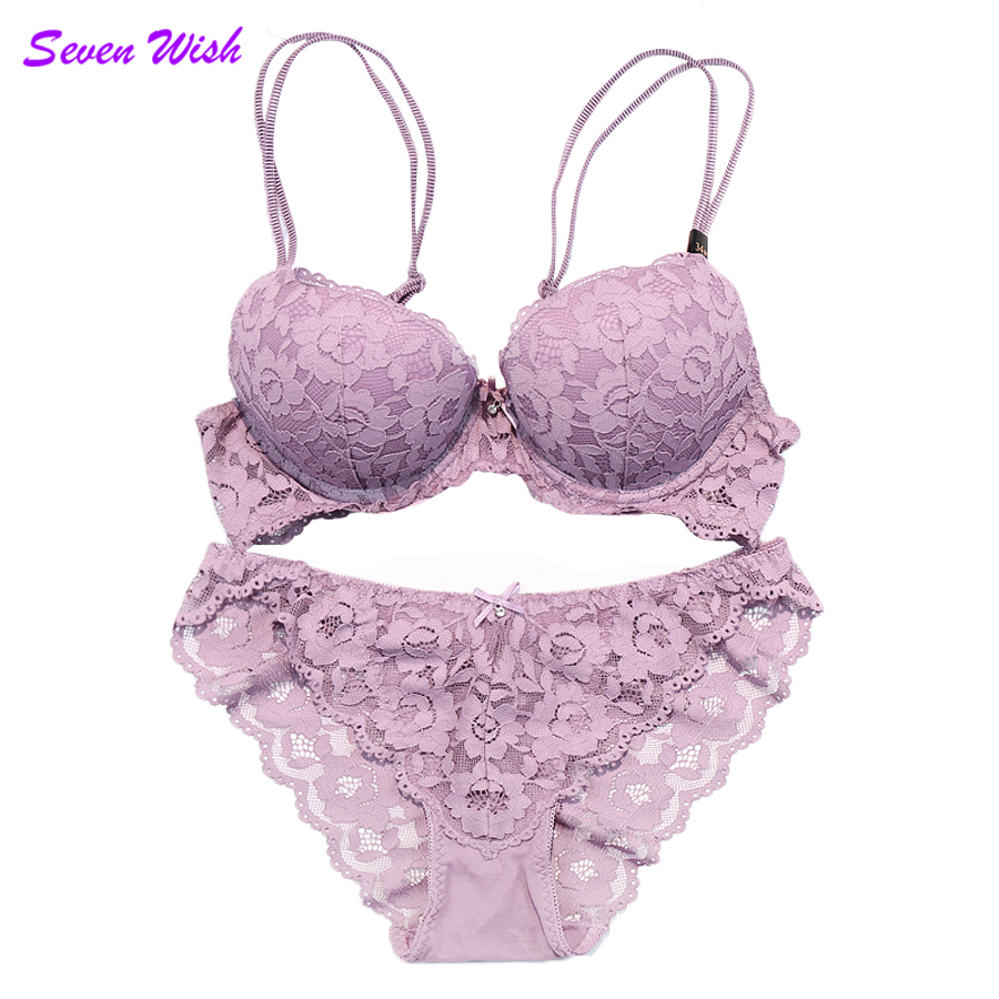 Fashion sexy full lace embroidery thin thick double shoulder strap thickening underwear deep V-neck women's push up   bra     set