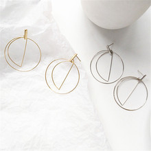 Simple Trendy Gold Sliver Color Geometric Big Round Circle Earrings For Women Fashion Large Hollow  Earrings Jewelry цена