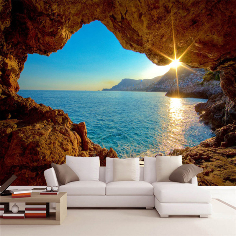 Custom Mural Wallpaper 3D Stereo Seaside Landscape Reef Cave Fresco Living Room Bedroom Space Expansion Background Wall Paper 3D