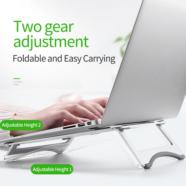 Silver Aluminum Laptop Stand Tablet Stand Universal for Apple/MacBook Air Pro 11 15 inches Folding Adjustable Office Notebook