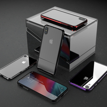 Japan Stylish Clear Tempered Glass Cases For Apple iPhone X XR XS Max Transparent Cover Metal+Silicone Frame Shockproof Slim
