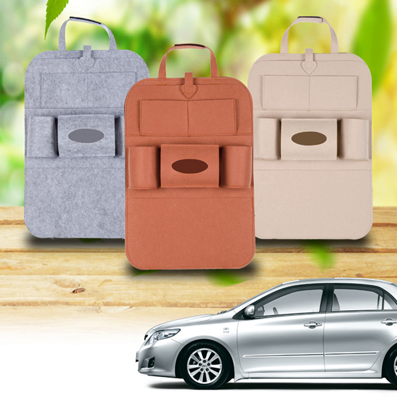 Car Seat Organizer Box Storage Bag Universal Back Felt Cover Backseat Holder Multi-Pockets Container Stowing Tidying Car Styling dewtreetali 14 5 8 5 cm universal car seat side back storage net bag phone holder pocket organizer stowing tidying hot sale